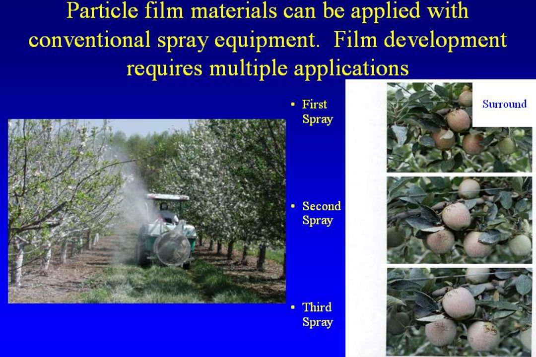 Particle film materials can be applied with conventional spray equipment. Film development requires multiple applications First Spray Second Spray Thi