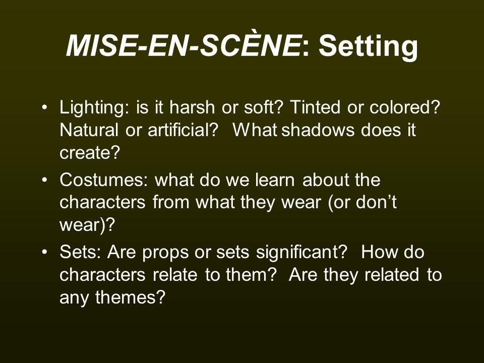 Setting: Lighting How does side lighting influence the interpretation of the frame.