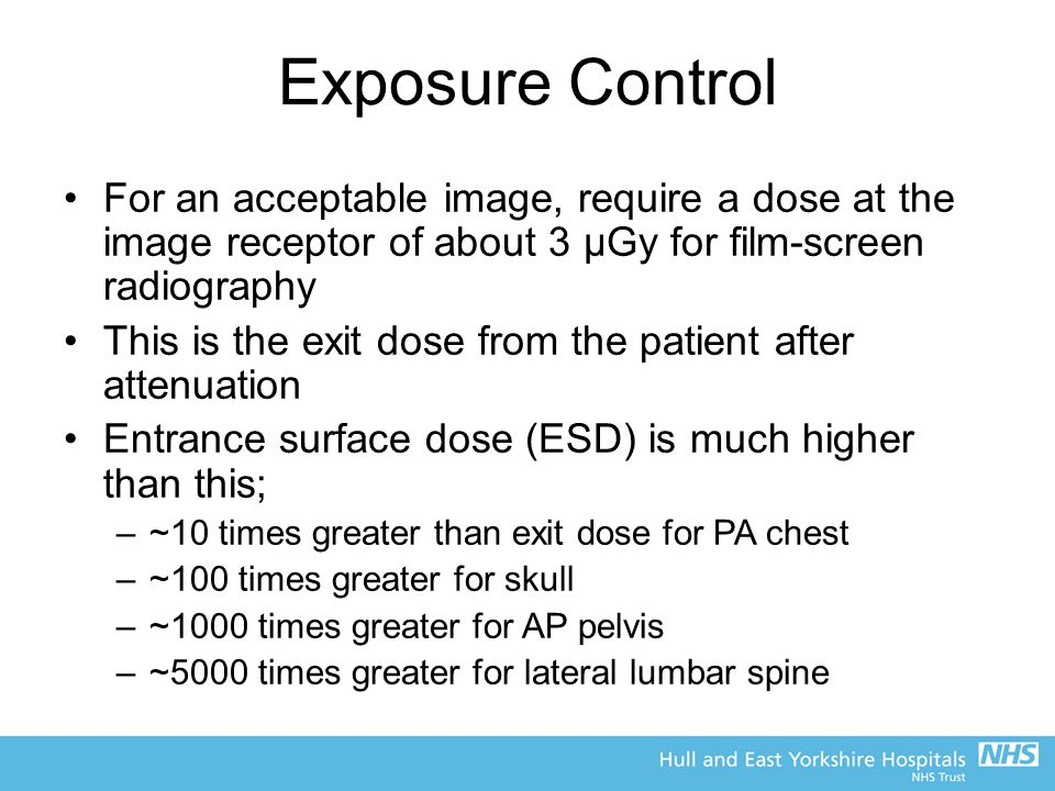 Exposure Control For an acceptable image, require a dose at the image receptor of about 3 μGy for film-screen radiography This is the exit dose from t