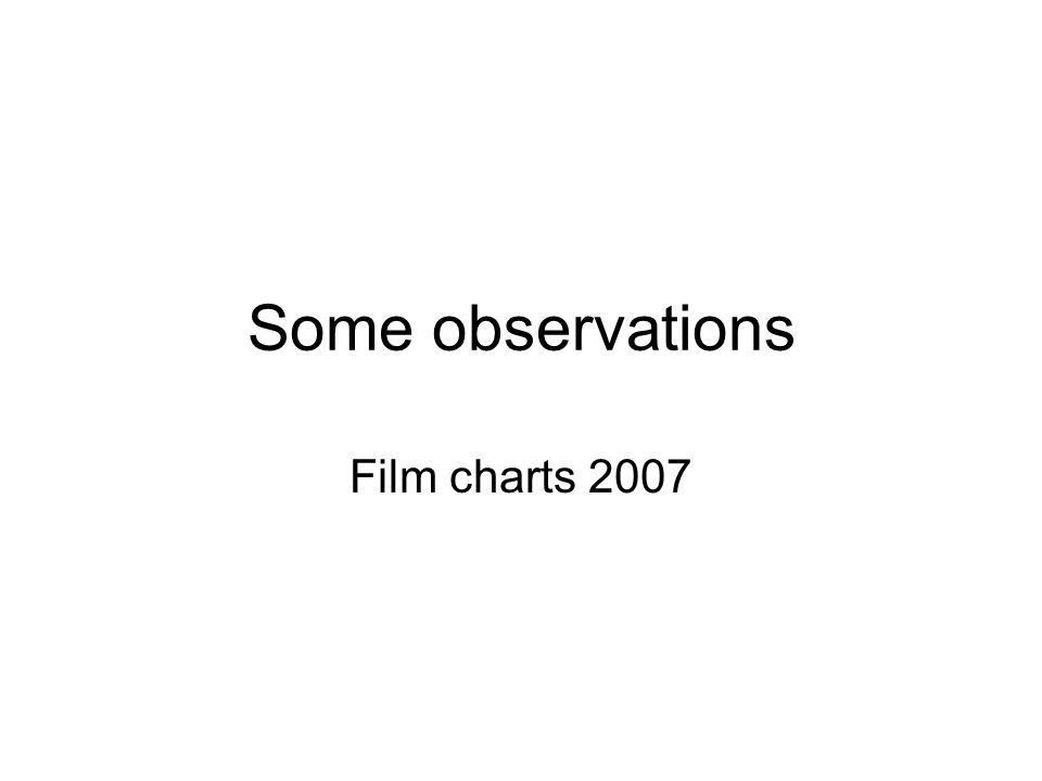 Some observations Film charts 2007