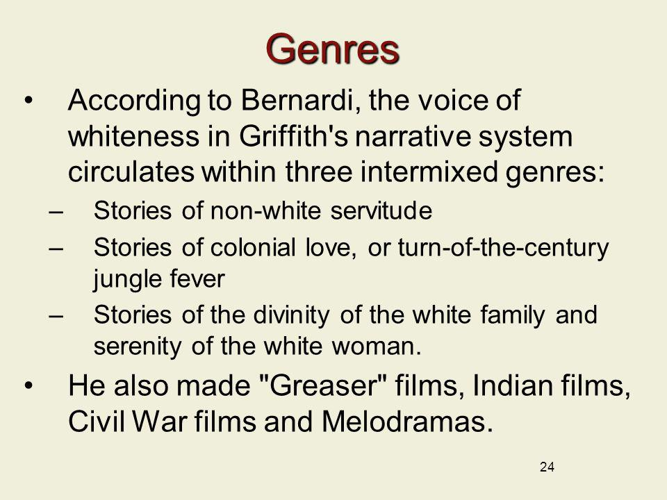 24Genres According to Bernardi, the voice of whiteness in Griffith's narrative system circulates within three intermixed genres: –Stories of non-white