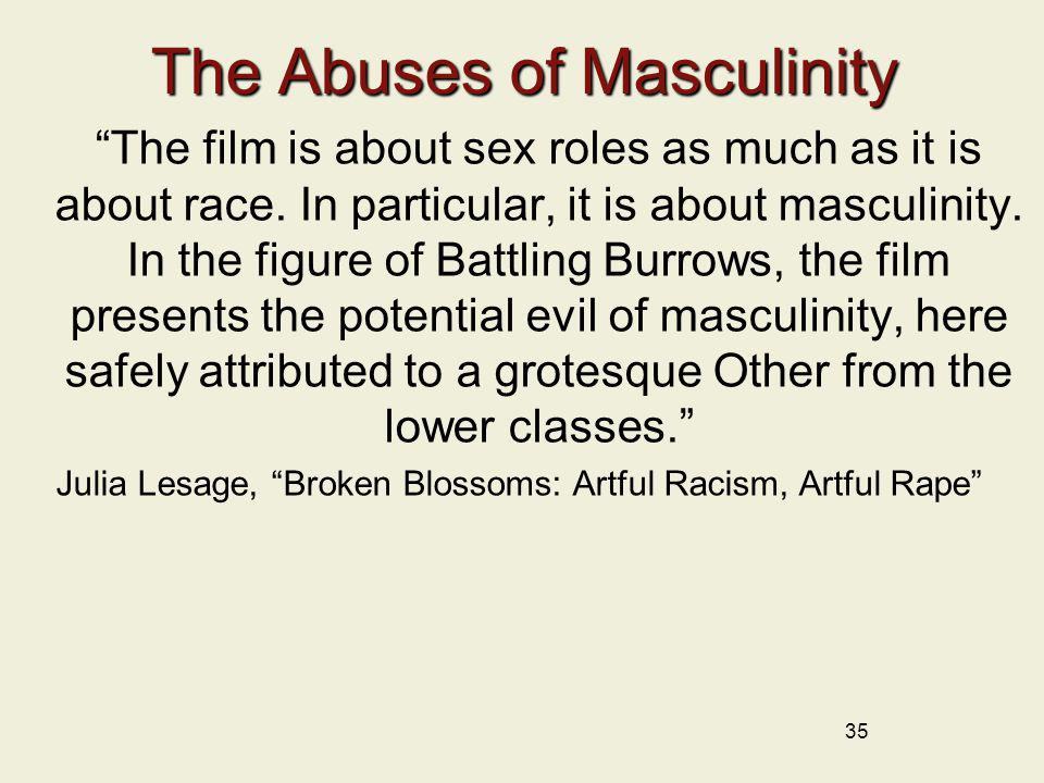 35 The Abuses of Masculinity The film is about sex roles as much as it is about race. In particular, it is about masculinity. In the figure of Battlin