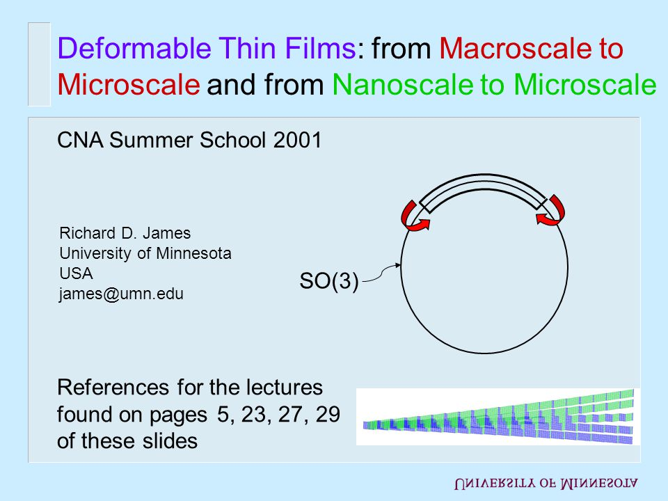 Deformable Thin Films: from Macroscale to Microscale and from Nanoscale to Microscale Richard D.