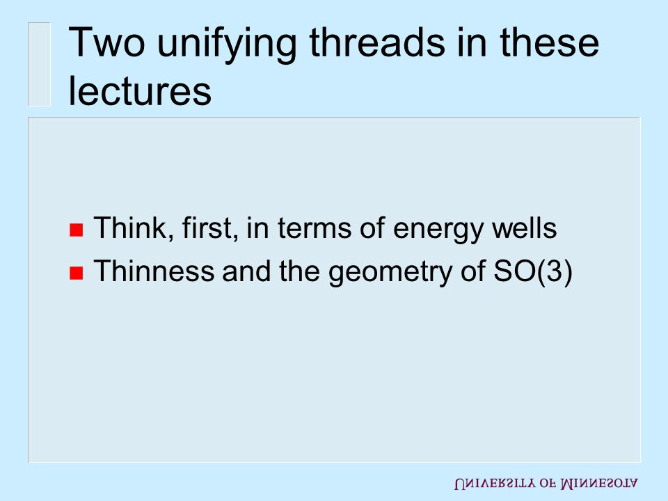 Lecture 1 n Deformable thin films, macroscale to microscale Physical background Membrane theory: tents, tunnels, etc.