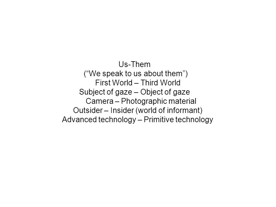 Us-Them (We speak to us about them) First World – Third World Subject of gaze – Object of gaze Camera – Photographic material Outsider – Insider (world of informant) Advanced technology – Primitive technology