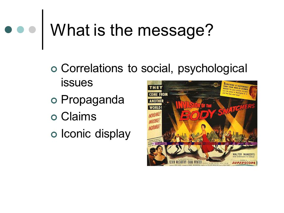 What is the message? Correlations to social, psychological issues Propaganda Claims Iconic display