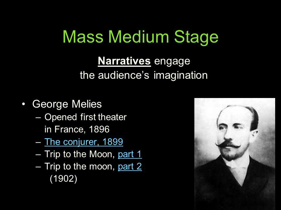 Mass Medium Stage Narratives engage the audiences imagination George Melies –Opened first theater in France, 1896 –The conjurer, 1899The conjurer, 189