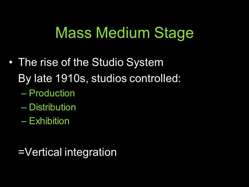 Mass Medium Stage The rise of the Studio System By late 1910s, studios controlled: –Production –Distribution –Exhibition =Vertical integration