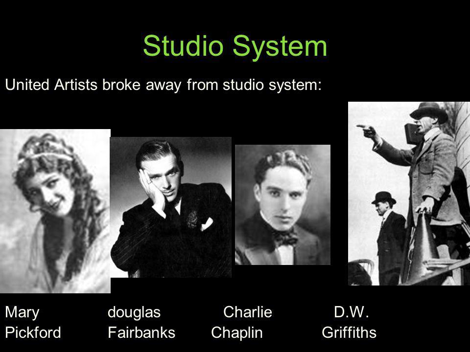 Studio System United Artists broke away from studio system: Mary douglas CharlieD.W. Pickford Fairbanks Chaplin Griffiths