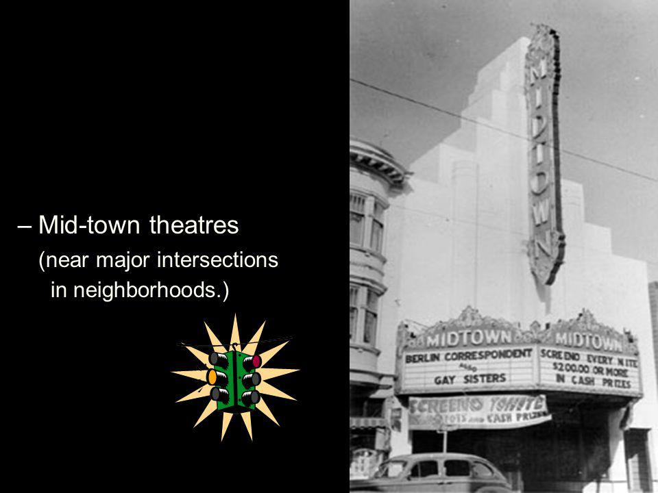 –Mid-town theatres (near major intersections in neighborhoods.)
