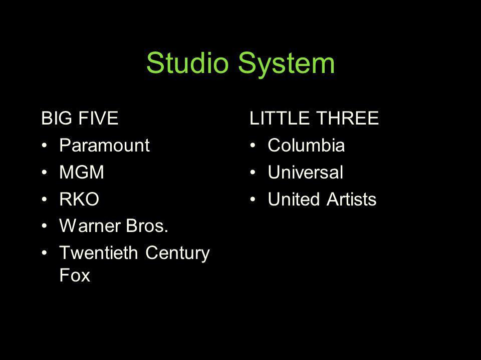 Studio System BIG FIVE Paramount MGM RKO Warner Bros. Twentieth Century Fox LITTLE THREE Columbia Universal United Artists