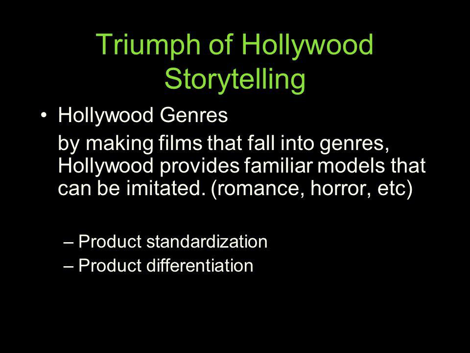 Triumph of Hollywood Storytelling Hollywood Genres by making films that fall into genres, Hollywood provides familiar models that can be imitated. (ro