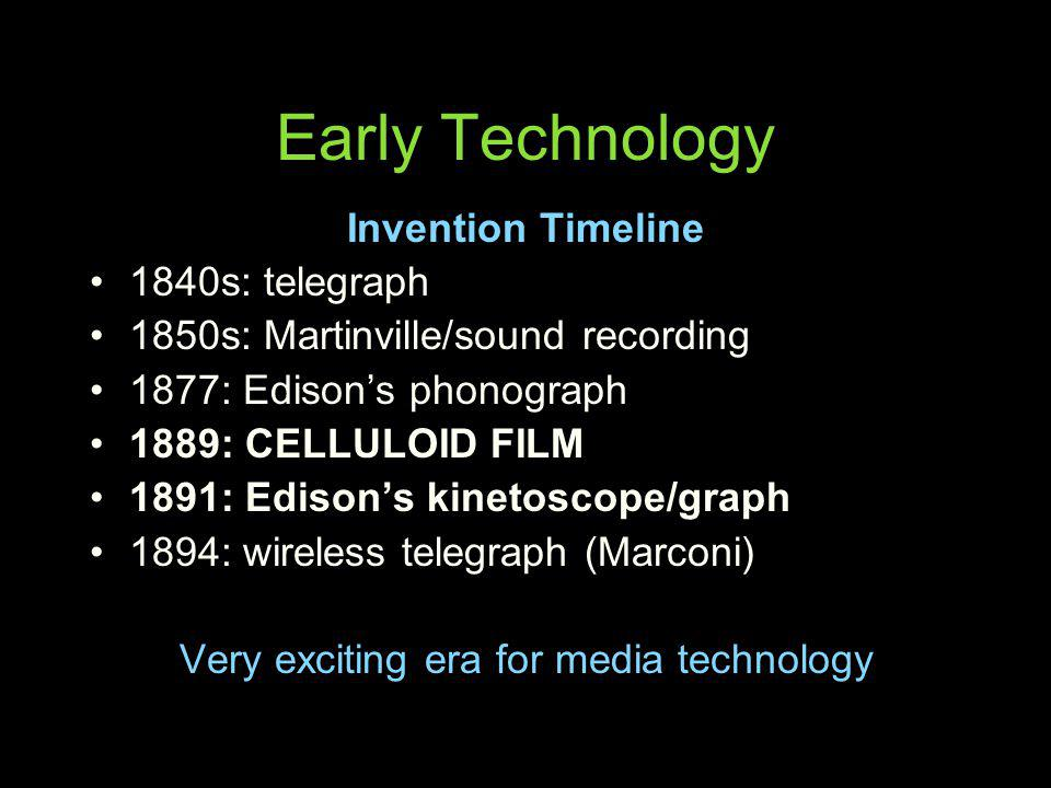 Early Technology Invention Timeline 1840s: telegraph 1850s: Martinville/sound recording 1877: Edisons phonograph 1889: CELLULOID FILM 1891: Edisons ki