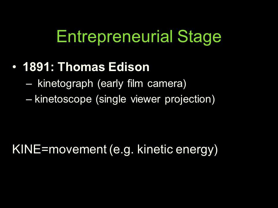 Entrepreneurial Stage 1891: Thomas Edison – kinetograph (early film camera) –kinetoscope (single viewer projection) KINE=movement (e.g. kinetic energy