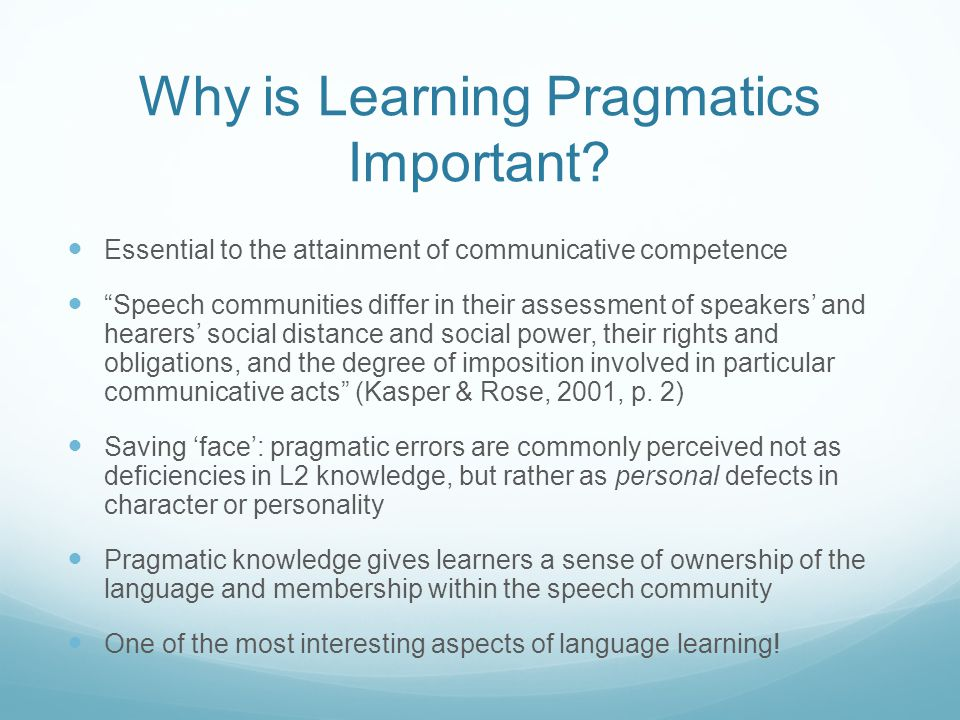 Why is Learning Pragmatics Important.