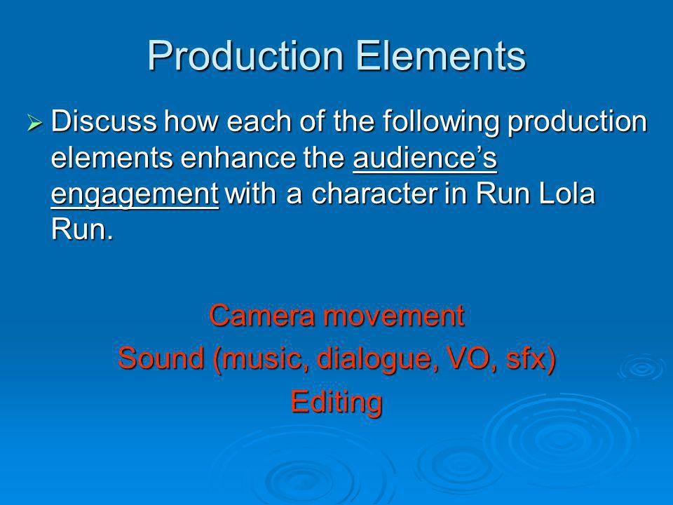 Production Elements Discuss how each of the following production elements enhance the audiences engagement with a character in Run Lola Run. Discuss h