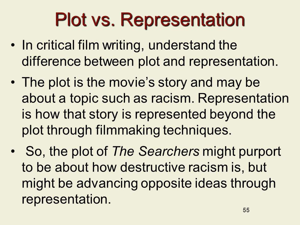 55 Plot vs. Representation In critical film writing, understand the difference between plot and representation. The plot is the movies story and may b