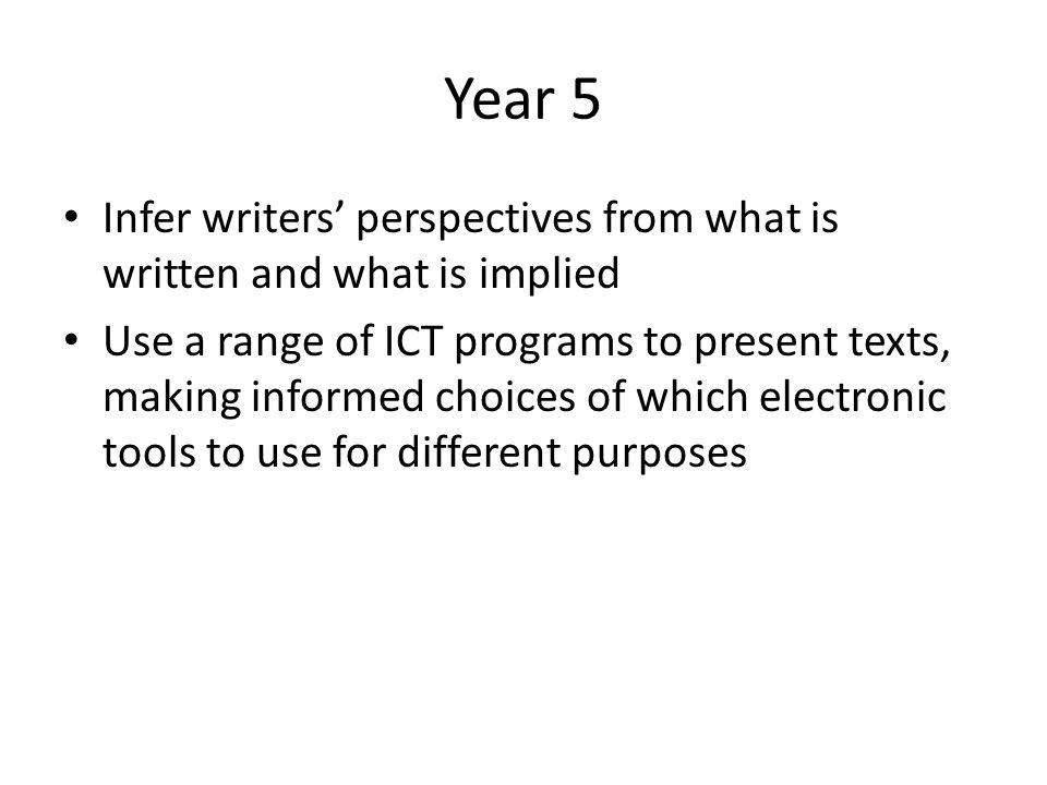 Year 5 Infer writers perspectives from what is written and what is implied Use a range of ICT programs to present texts, making informed choices of wh