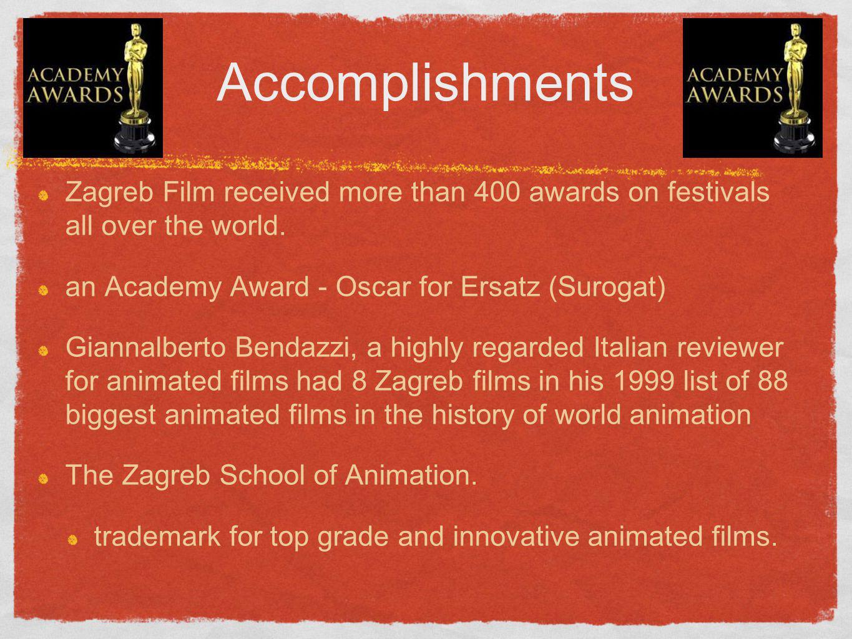 Accomplishments Zagreb Film received more than 400 awards on festivals all over the world. an Academy Award - Oscar for Ersatz (Surogat) Giannalberto