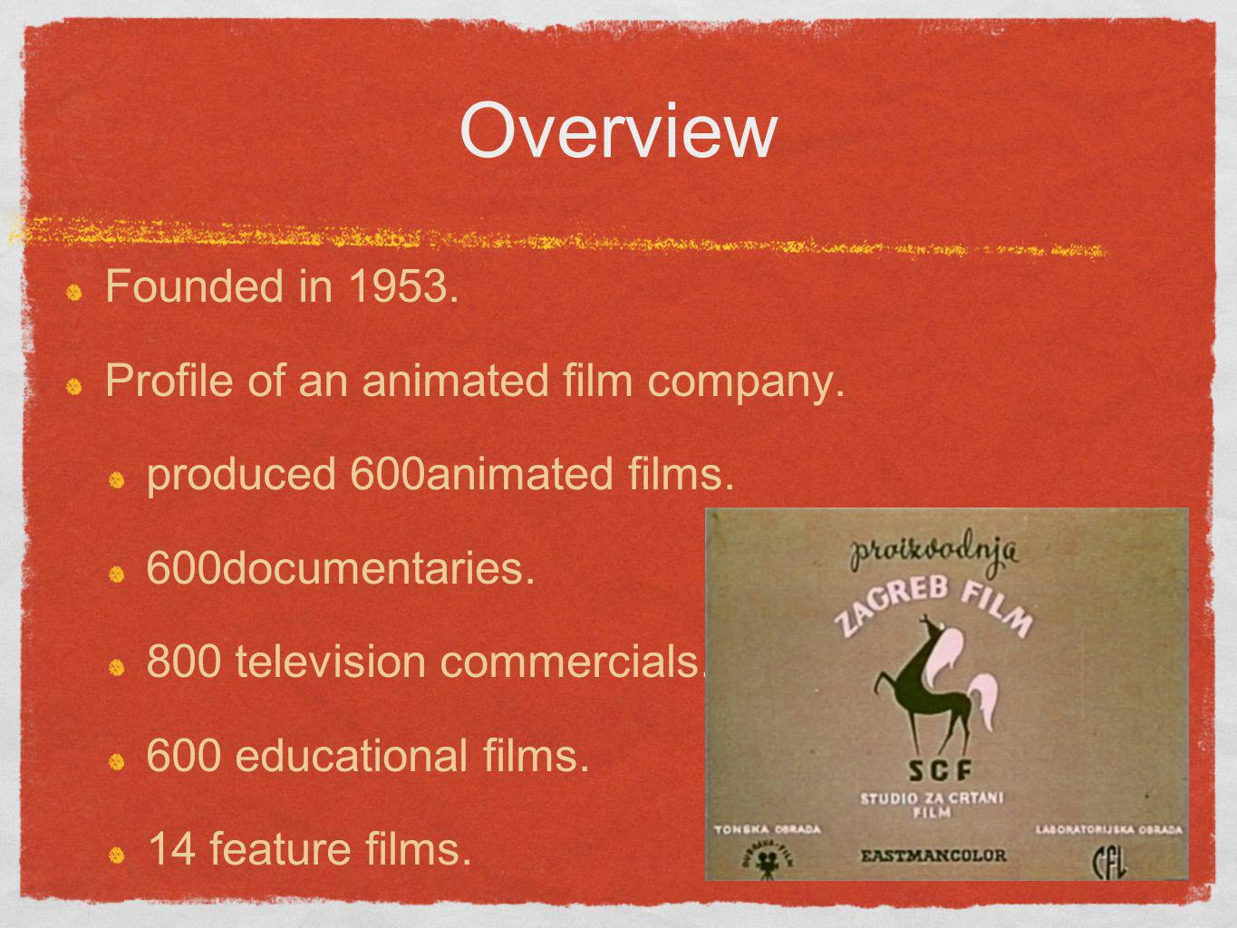Overview Founded in 1953. Profile of an animated film company. produced 600animated films. 600documentaries. 800 television commercials. 600 education