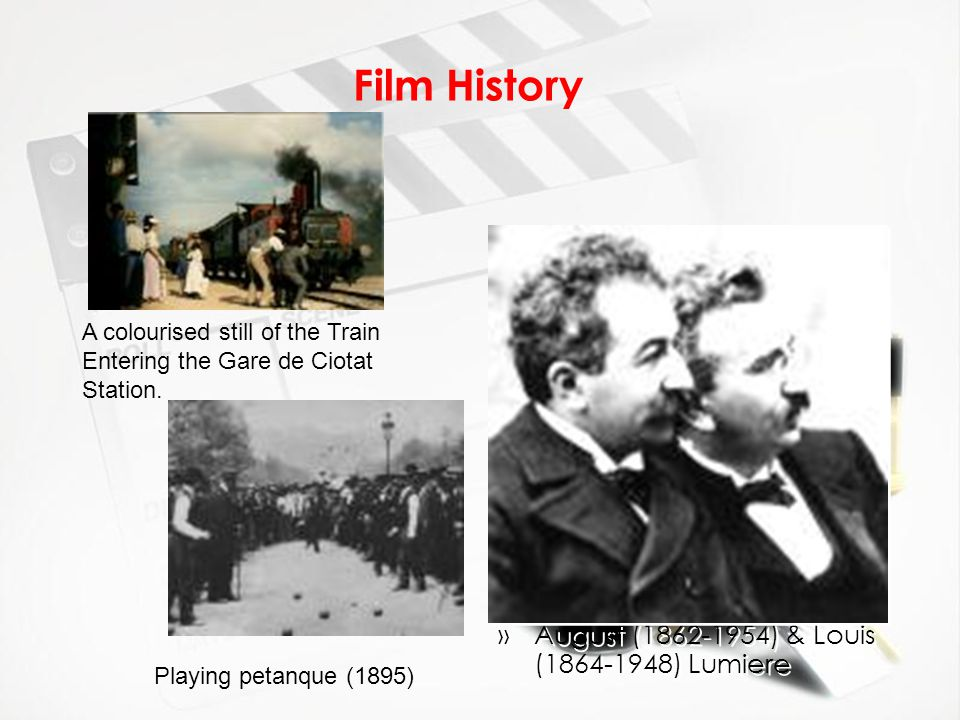 Film History »August (1862-1954) & Louis (1864-1948) Lumiere A colourised still of the Train Entering the Gare de Ciotat Station. Playing petanque (18