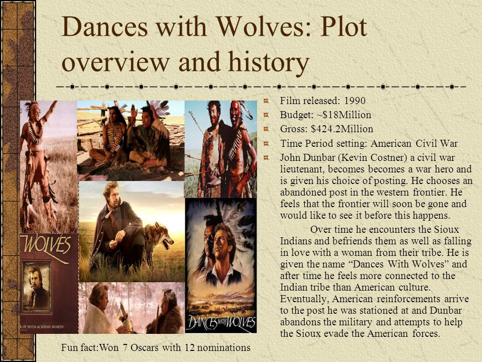 Dances with Wolves: Plot overview and history Fun fact:Won 7 Oscars with 12 nominations Film released: 1990 Budget: ~$18Million Gross: $424.2Million T