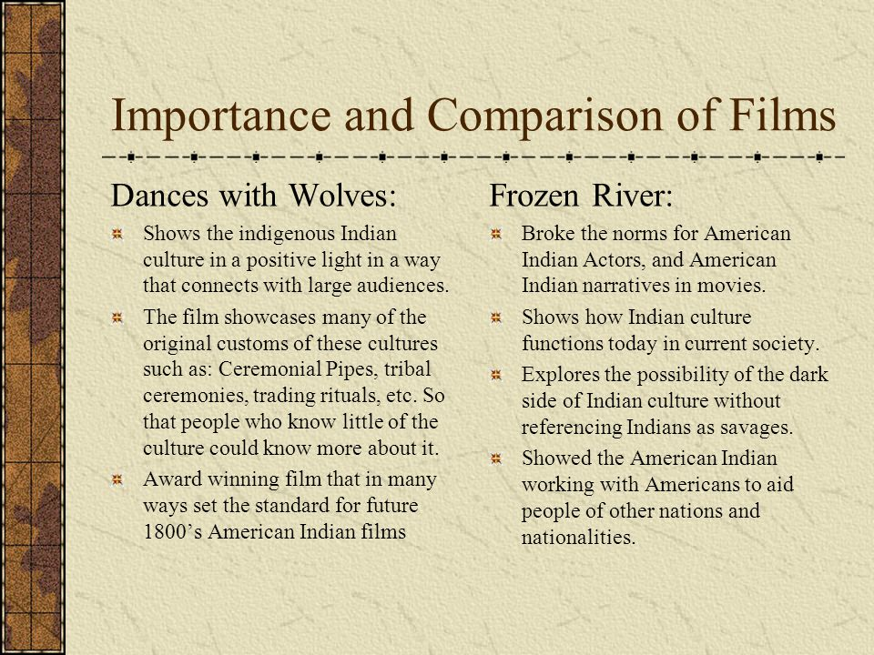 Importance and Comparison of Films Dances with Wolves: Shows the indigenous Indian culture in a positive light in a way that connects with large audie
