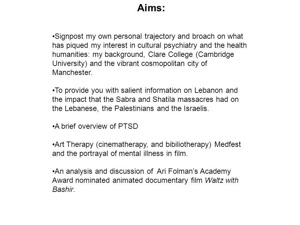 Aims: Signpost my own personal trajectory and broach on what has piqued my interest in cultural psychiatry and the health humanities: my background, C