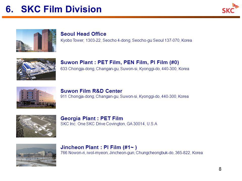8 6.SKC Film Division Suwon Plant : PET Film, PEN Film, PI Film (#0) 633 Chongja-dong, Changan-gu, Suwon-si, Kyonggi-do, 440-300, Korea Jincheon Plant