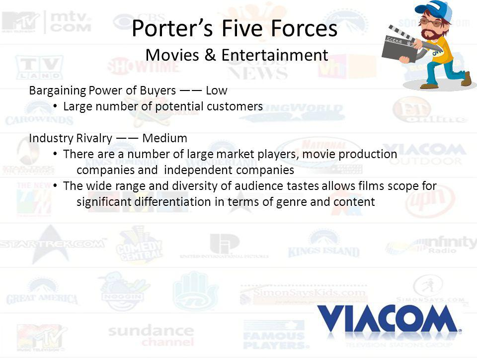 Porters Five Forces Movies & Entertainment Bargaining Power of Buyers Low Large number of potential customers Industry Rivalry Medium There are a numb