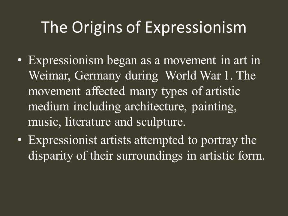 Expressionist Architecture and Landscape In order to put forth the abstract, it was necessary for the Expressionist filmmaker to obliterate nature and eradicate the natural world.