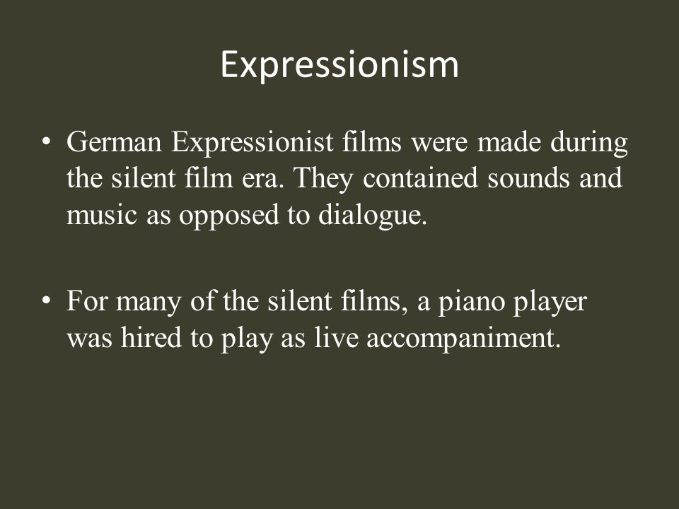 Elements of Expressionism: Exploitation Expressionism manipulated sound, lighting and stage design to reveal emotions and realities in an abstract manner.
