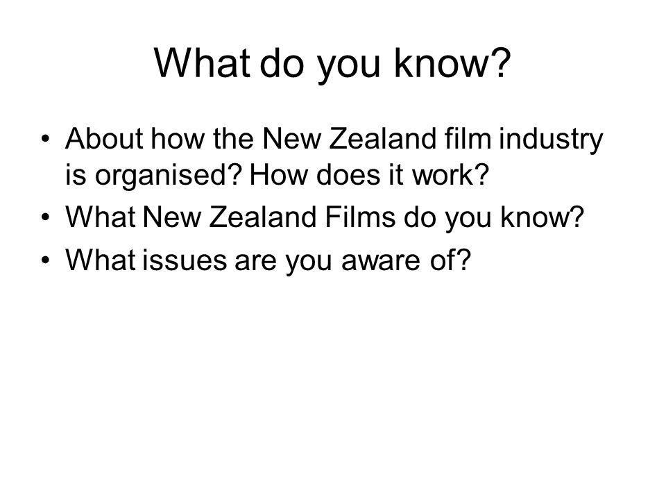 What do you know. About how the New Zealand film industry is organised.