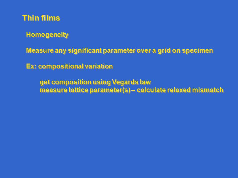 Thin films Homogeneity Measure any significant parameter over a grid on specimen Ex: compositional variation get composition using Vegards law measure lattice parameter(s) – calculate relaxed mismatch Homogeneity Measure any significant parameter over a grid on specimen Ex: compositional variation get composition using Vegards law measure lattice parameter(s) – calculate relaxed mismatch