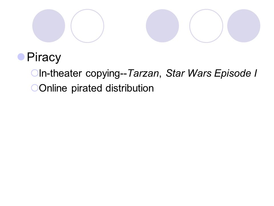 Piracy In-theater copying--Tarzan, Star Wars Episode I Online pirated distribution