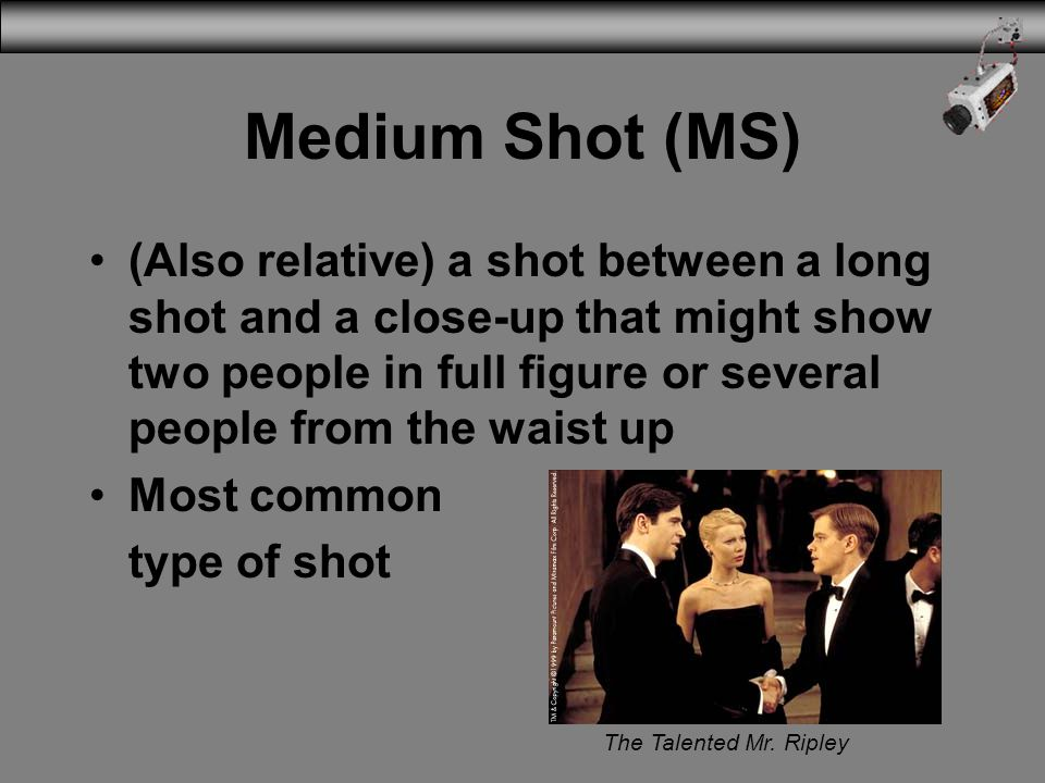 Medium Shot (MS) (Also relative) a shot between a long shot and a close-up that might show two people in full figure or several people from the waist