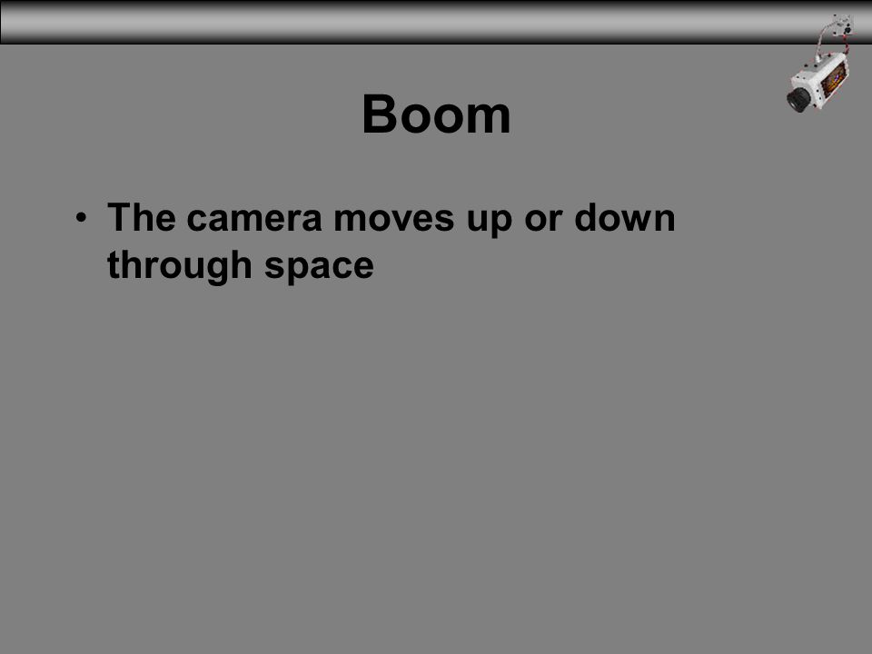 Boom The camera moves up or down through space