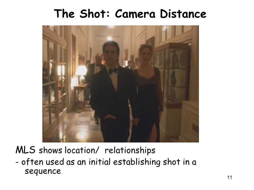 11 The Shot: Camera Distance MLS shows location/ relationships - often used as an initial establishing shot in a sequence