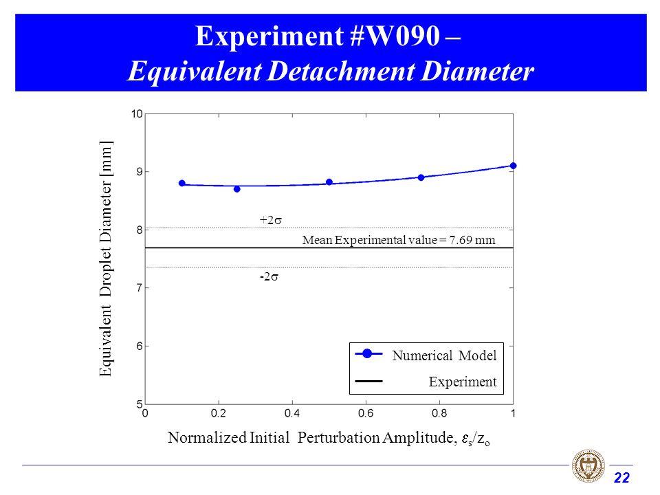 22 Experiment #W090 – Equivalent Detachment Diameter Normalized Initial Perturbation Amplitude, s /z o Equivalent Droplet Diameter [mm] Mean Experimental value = 7.69 mm +2 -2 Numerical Model Experiment