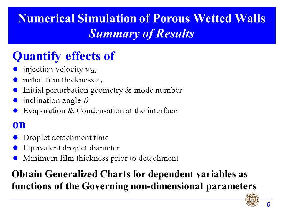 5 Numerical Simulation of Porous Wetted Walls Summary of Results Quantify effects of injection velocity w in initial film thickness z o Initial pertur