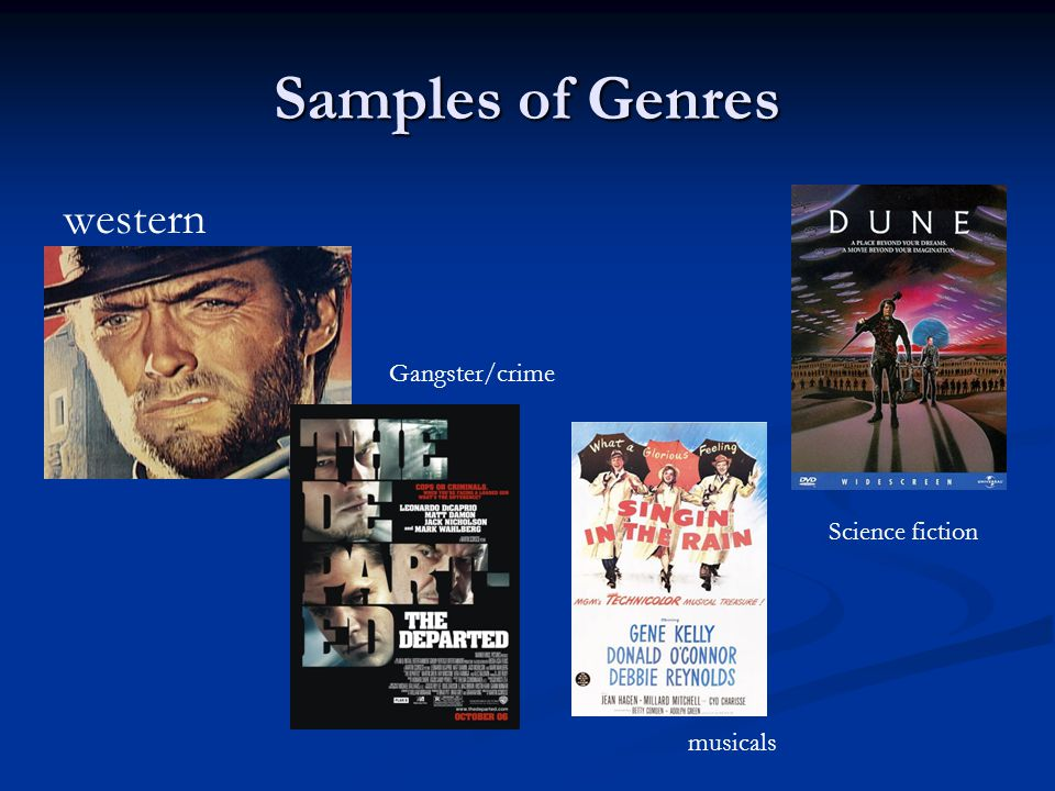 Samples of Genres western Gangster/crime Science fiction musicals