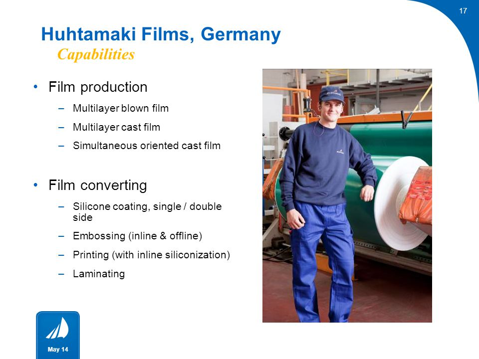 17 May 14 Film production –Multilayer blown film –Multilayer cast film –Simultaneous oriented cast film Film converting –Silicone coating, single / do