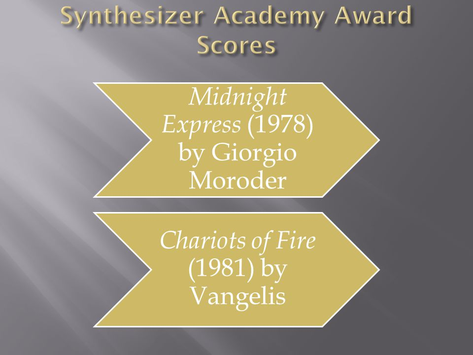 Midnight Express (1978) by Giorgio Moroder Chariots of Fire (1981) by Vangelis