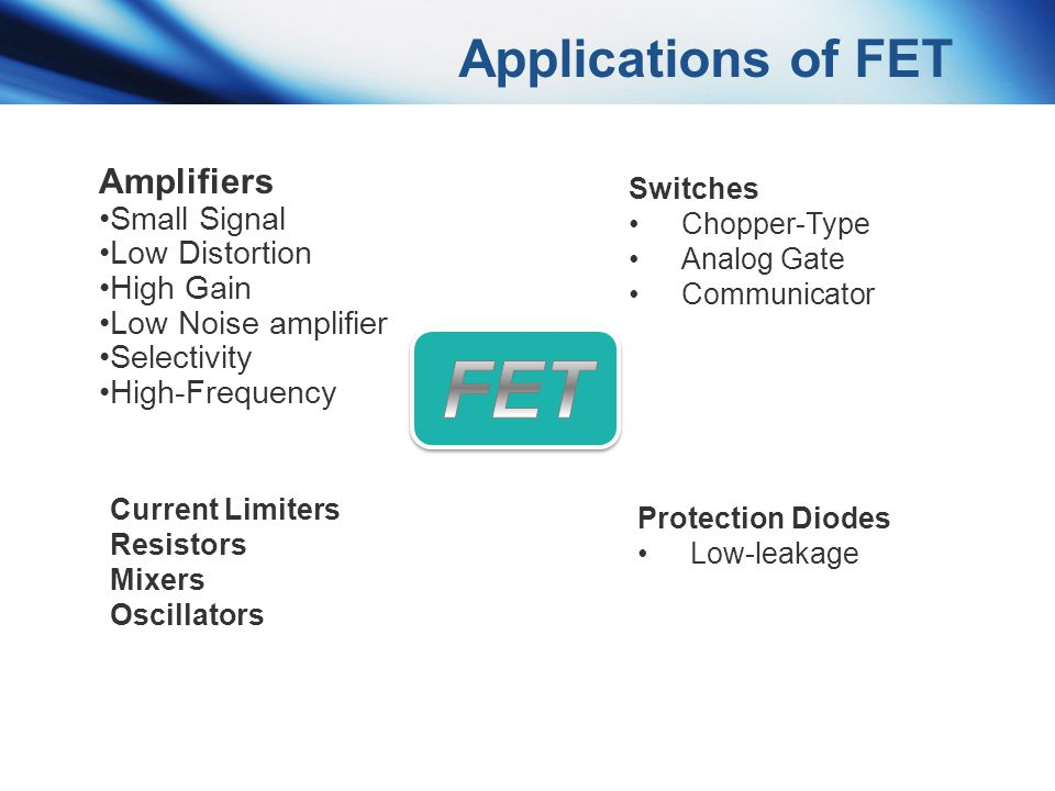 Applications of FET Amplifiers Small Signal Low Distortion High Gain Low Noise amplifier Selectivity High-Frequency Switches Chopper-Type Analog Gate
