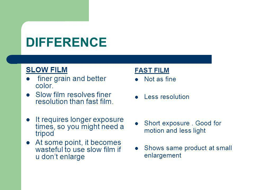 DIFFERENCE SLOW FILM finer grain and better color.