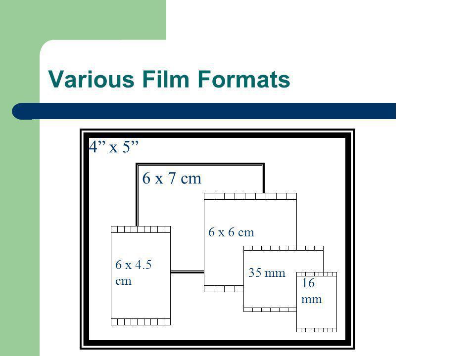 Various Film Formats 4 x 5 6 x 7 cm 6 x 4.5 cm 6 x 6 cm 35 mm 16 mm