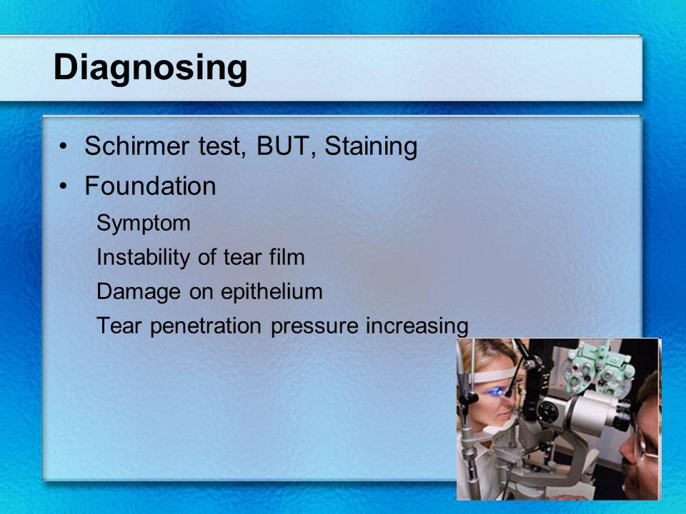 Diagnosing Schirmer test, BUT, Staining Foundation Symptom Instability of tear film Damage on epithelium Tear penetration pressure increasing