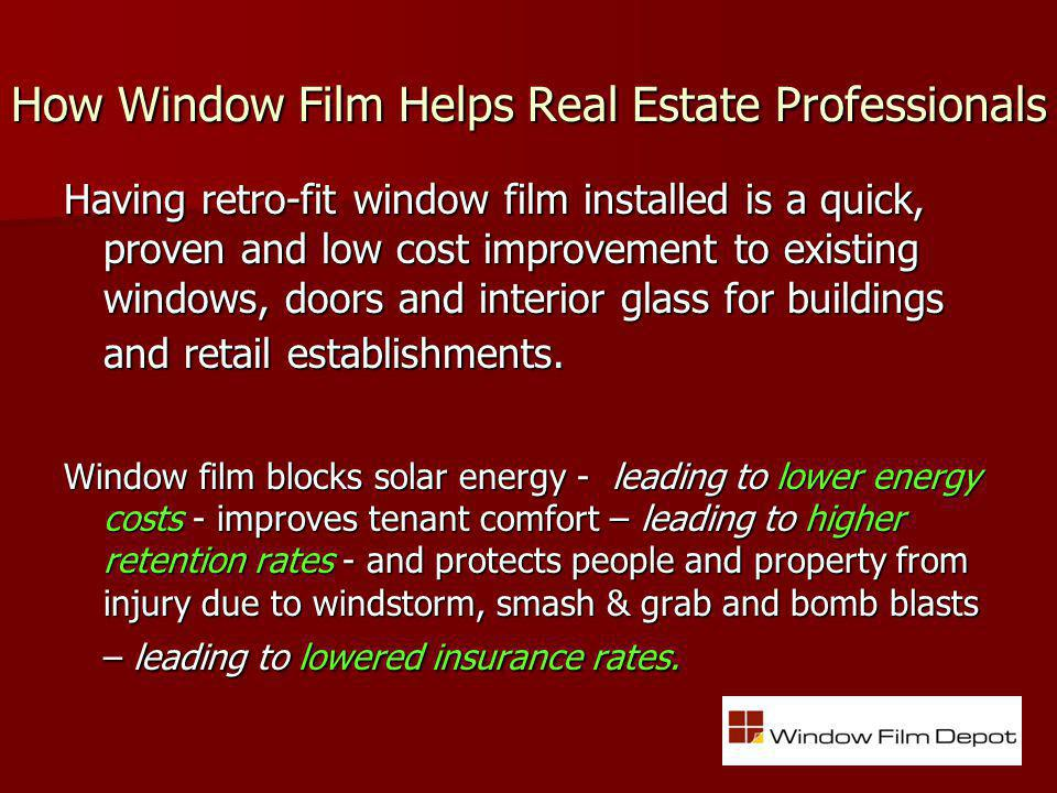 Overview 3M & Window Film Depot (WFD) 3M & Window Film Depot (WFD) Trusted Innovator + Experienced National Installer 3M Window Films 101 3M Window Films 101 Decorative, Architectural, Security, Energy Management Films How WFD Adds Value How WFD Adds Value WFD Solutions Delivered for StrutureTec & Hines