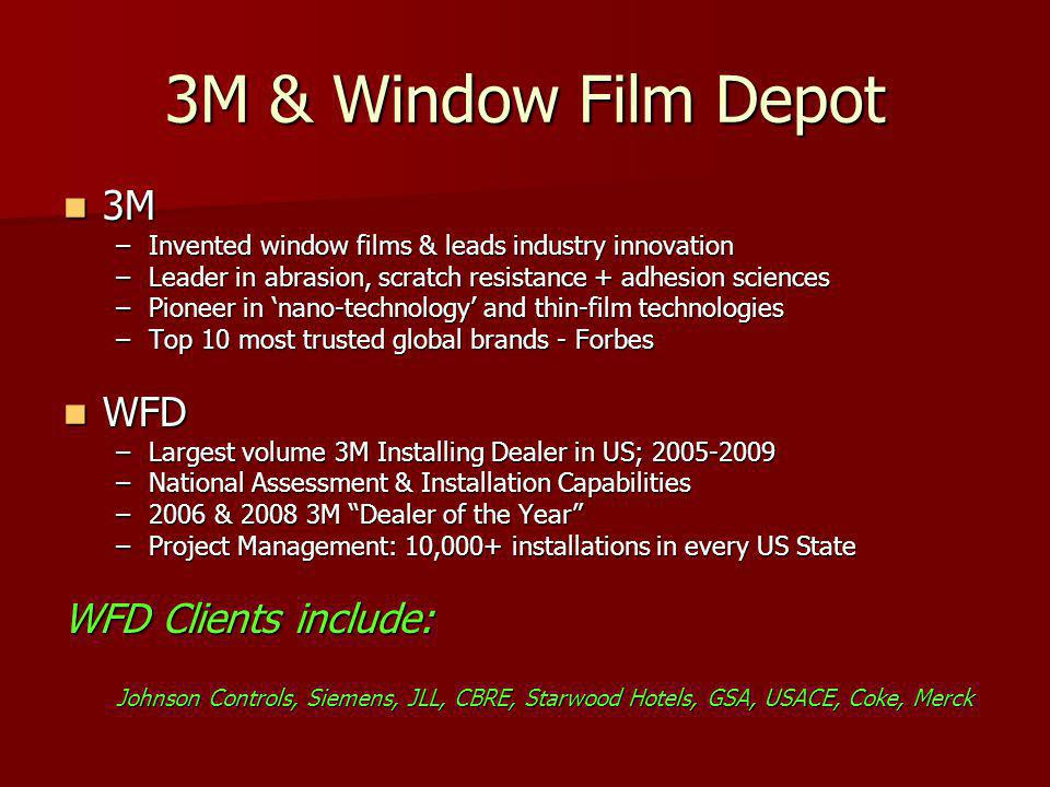 3M Films 101: Decorative Films 1,000 + colors, patterns and levels of opacity Custom applications for hard to please tenants Custom applications for hard to please tenants Frosted, gradient, one-way & black-out Create privacy in select areas on glass walls & conference rooms Create privacy in select areas on glass walls & conference rooms Easily cleaned and replaced if needed Semi-permanent nature allows for new designs for new tenants Semi-permanent nature allows for new designs for new tenants Glass strengthening Unlike harsh glass etching, installed films strengthen glass Unlike harsh glass etching, installed films strengthen glass Economical solution $4-10 / sq.
