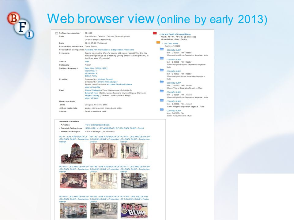 Web browser view (online by early 2013)